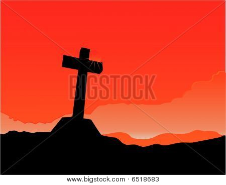 As the sun sets, the cross is illuminated...