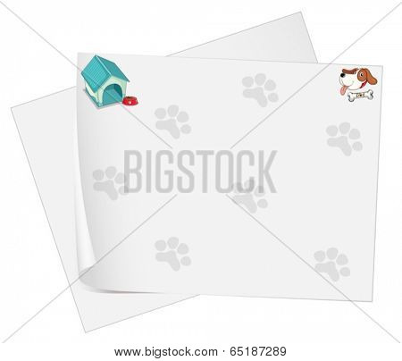 Illustration of an empty stationery with animal footprints on a white background