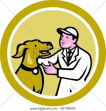 Veterinarian Vet Kneeling Beside Pet Dog Circle Cartoon