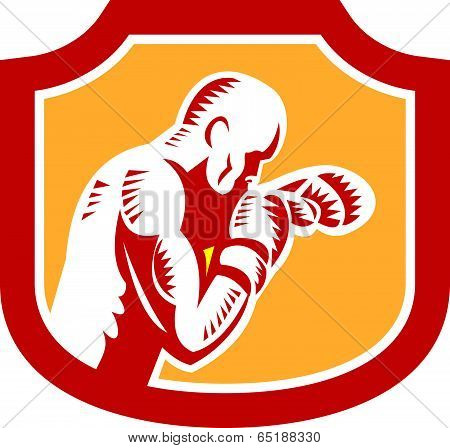 Boxer Boxing Jabbing Punch Side Shield Retro