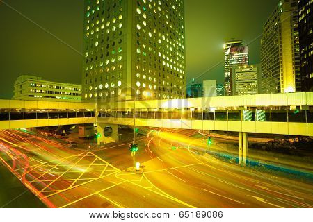 Road Light Trails On Streetscape Buildings Backgrounds In Hongkong