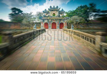 Beautiful Gate To Citadel Of Hue In Vietnam, Asia.