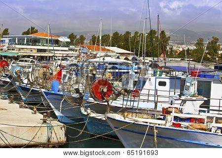 Fishing boats in Paphos harbour.