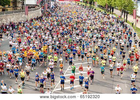 Latvia, Riga-18 May,2014:the 24Th Nordea Riga Marathon,at This Time The Marathon Gained Internationa