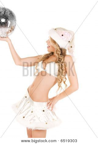 Sexy Santa Helper With Disco Ball