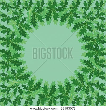 Round frame of oak leaves