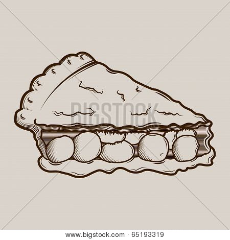 Detailed Graphic Cherry Pie Isolated On Light Background. Outlines. Vector Illustration.