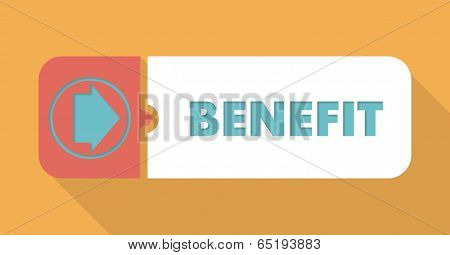 Benefit on Orange Background in Flat Design.