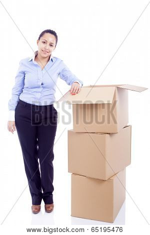 Woman standing with card boxes, isolated on white background