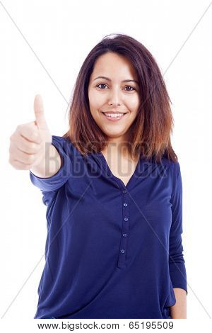 Happy young woman showing thumb up sign, isolated on white background
