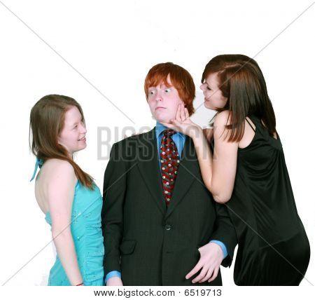 Blushing Boy And Teen Girls Flirting
