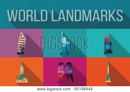 World landmarks, famous buildings, Europe, America, Asia, vector illustration