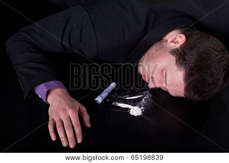 Unconscious Man Addicted To Cocaine