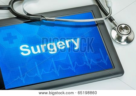 Tablet with the medical specialty Surgery on the display