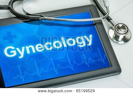 Tablet with the medical specialty Gynecology on the display