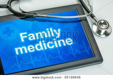 Tablet with the text Family medicine on the display