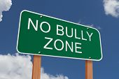 image of stop bully  - No Bully Zone Sign Green highway sign with words No Bully Zone with blue sky background - JPG