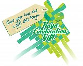 stock photo of hari raya aidilfitri  - Raya Ketupat celebration with gift tag on top - JPG