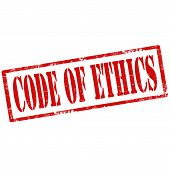 stock photo of ethics  - Grunge rubber stamp with text Code Of Ethics - JPG