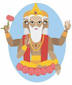 image of brahma  - vector illustration of Hindu deity lord Brahma - JPG
