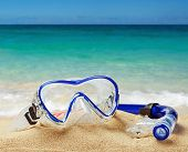 stock photo of rubber mask  - snorkel and scuba mask on the beach - JPG