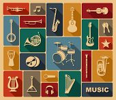 stock photo of banjo  - Silhouettes of various musical instruments in retrostyle - JPG