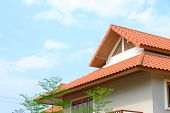 stock photo of gable-roof  - gable roof of tropical house architectute Thai - JPG