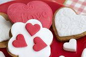 image of sugar paste  - Shortbread cookies in the shape of heart decorated with sugar paste - JPG