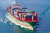 stock photo of ship  - Container Ship in Bosphorus Strait - JPG