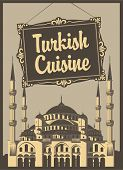 picture of constantinople  - banner for a restaurant with Turkish cuisine and the Blue Mosque - JPG