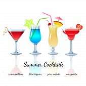 stock photo of cosmopolitan  - Summer cocktails set  - JPG