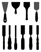 picture of chisel  - Black silhouettes of chisels and spatula - JPG