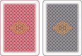 stock photo of playing card  - Playing cards back abstract design two different colour arrangements - JPG