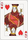 stock photo of playing card  - Queen of hearts playing card standard size - JPG