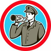 stock photo of military personnel  - Illustration of a soldier military police personnel blowing a bugle set inside a circle done in retro style - JPG