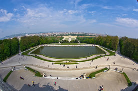 foto of schoenbrunn  - Super wide angle cityscape view of Vienna from Gloriette at Schoenbrunn palace - JPG