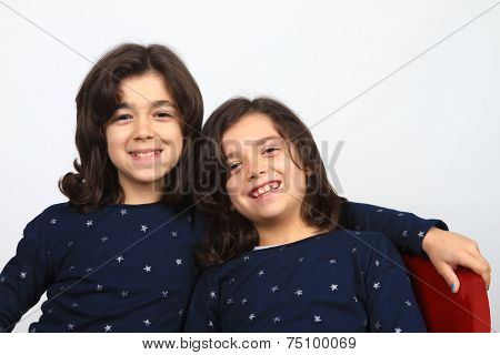 beautiful happy children, happy sisters