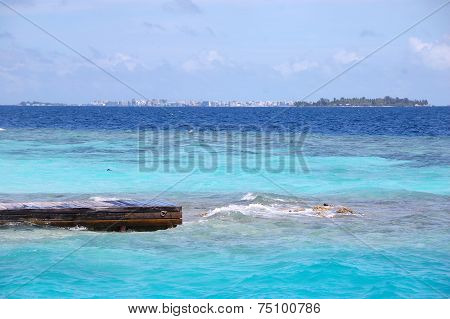 Timber Pier At Ocean Male Island View Maldives