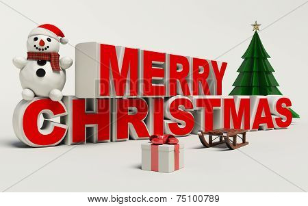 Merry Christmas 3D Text, Snowman,slage,and Gift High Resolution