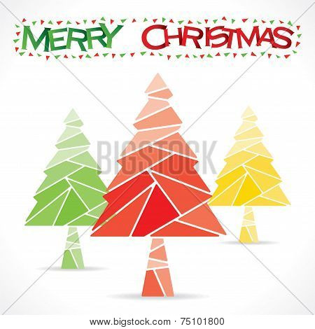 colorful merry christmas tree design vector