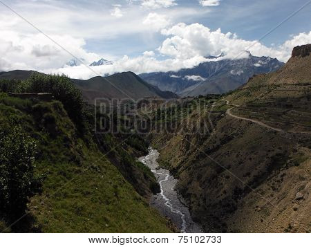 Small Himalayan Canyon With River