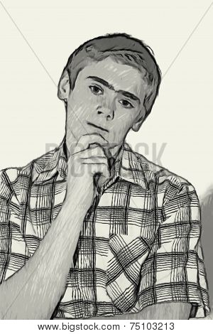 Sketch Teen Boy Body Language -  Thinking
