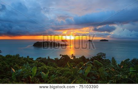 Sun Set And Beautiful Dusky Sky At Koh Chang Island View Point Trat Provicne Eastern Of Thailand