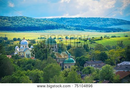 Landscape in western Ukraine with a view of the countryside