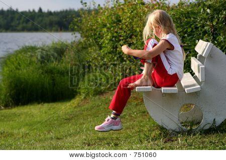 Girl on bench