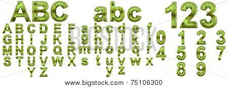 High resolution 3D abstract green fresh water, ice or liquid font set isolated on white background