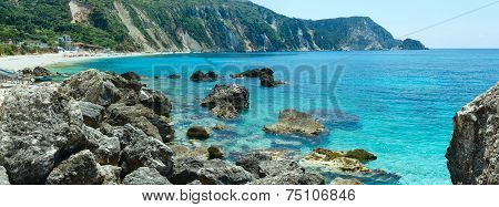 Petani Beach (kefalonia, Greece) Summer Panorama.