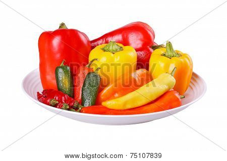 Mixed Hot And Sweet Peppers In A Bowl Isolated On White