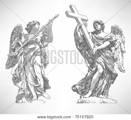 digital drawing marble statue of two angels