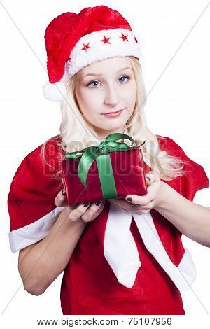 Female Santa Holding Wrapped Christmas Gift
